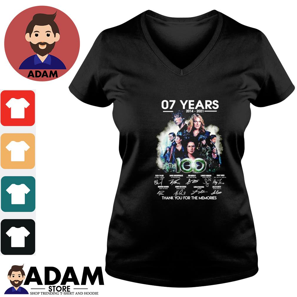 07 Years The 100 2014-2021 signatures thank you for the memories V-neck-t-shirt