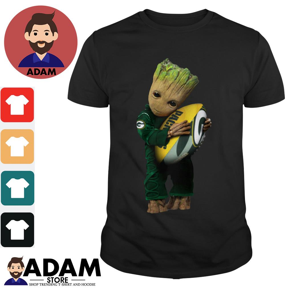 Baby Groot hugging Green Bay Packers shirt