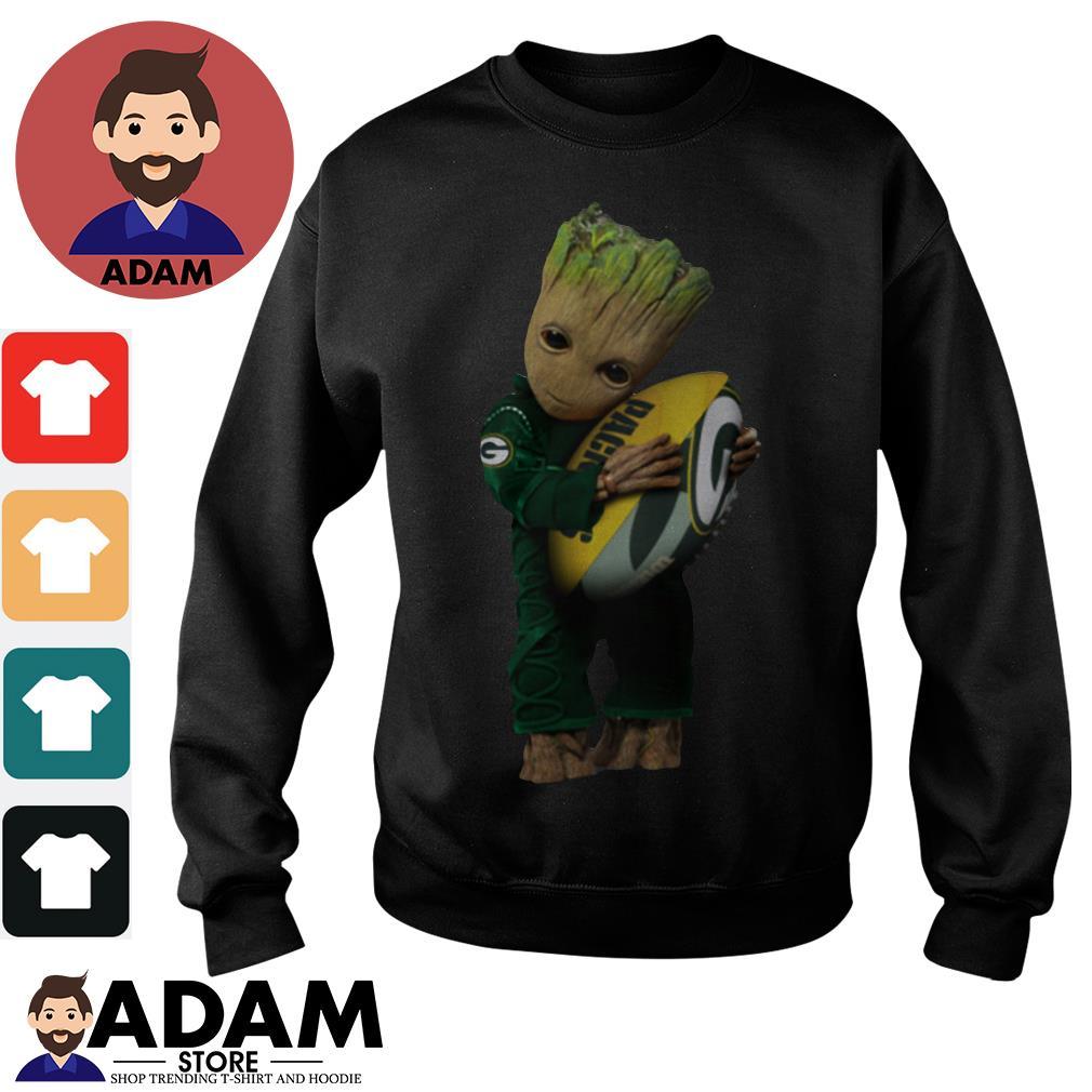 Baby Groot hugging Green Bay Packers Sweater