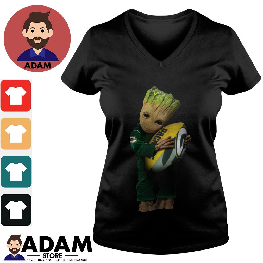 Baby Groot hugging Green Bay Packers V-neck-t-shirt