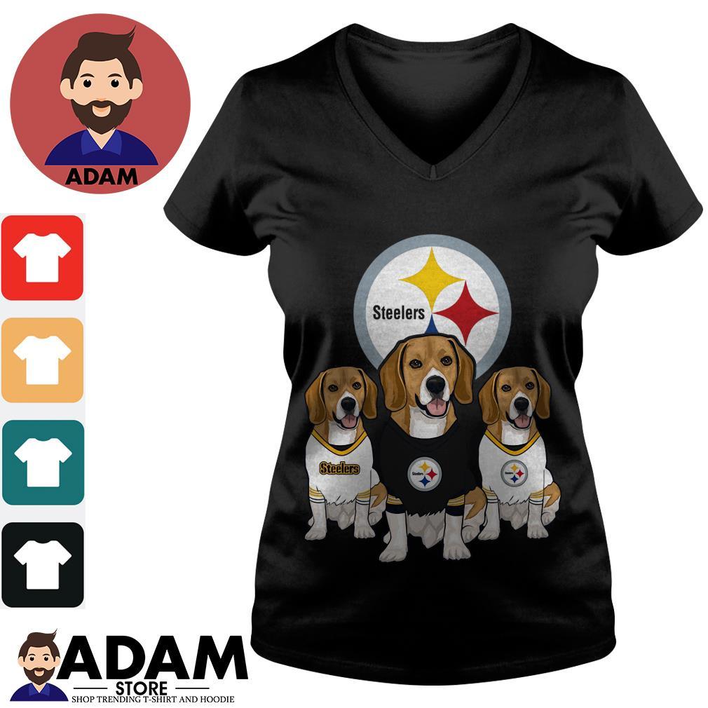 Beagle Pittsburgh Steelers V-neck-T-shirt