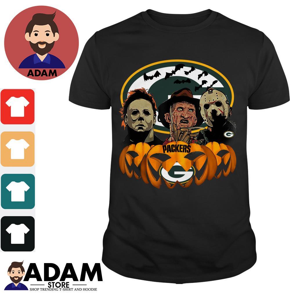 Halloween horror characters green bay Packers Pumpkin shirt