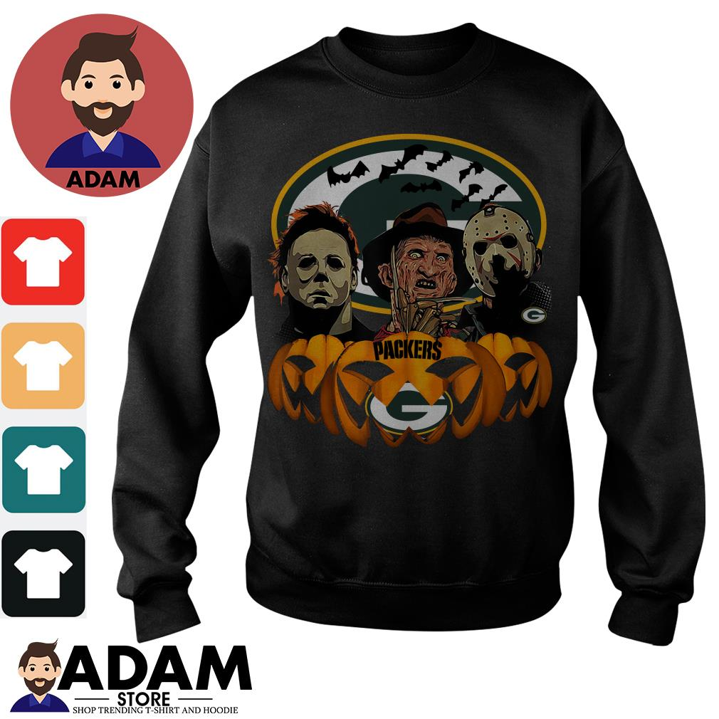 Halloween horror characters green bay Packers Pumpkin Sweater