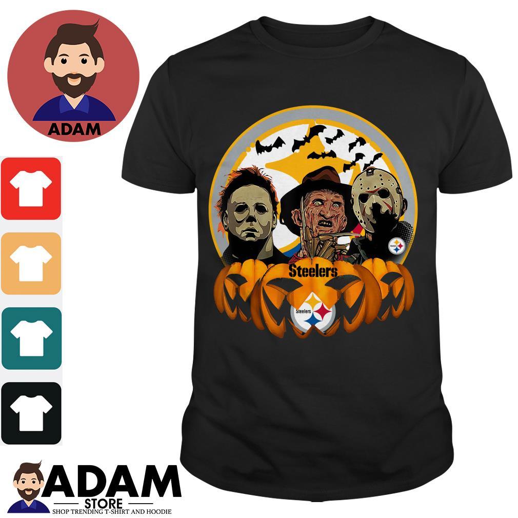 Halloween horror characters pittsburgh steelers pumpkin shirt