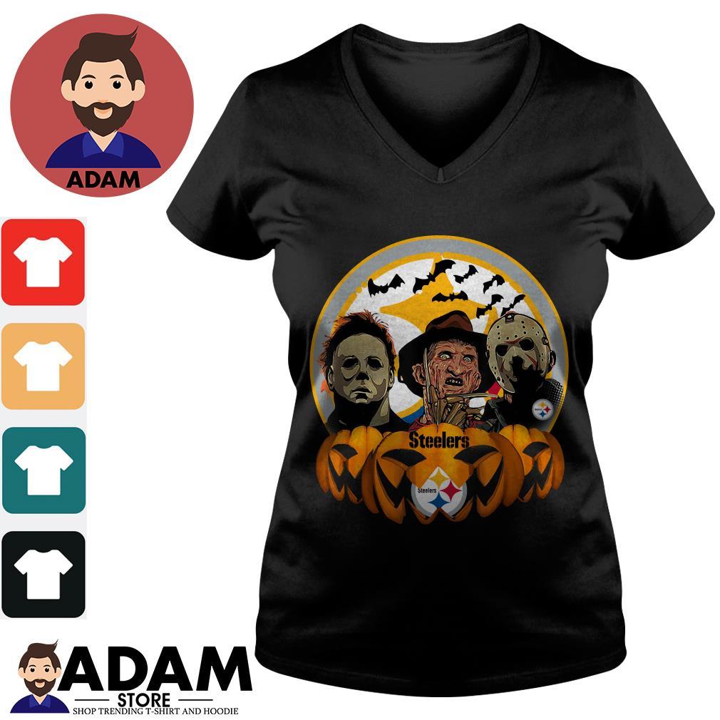 Halloween horror characters pittsburgh steelers pumpkin V-neck-t-shirt