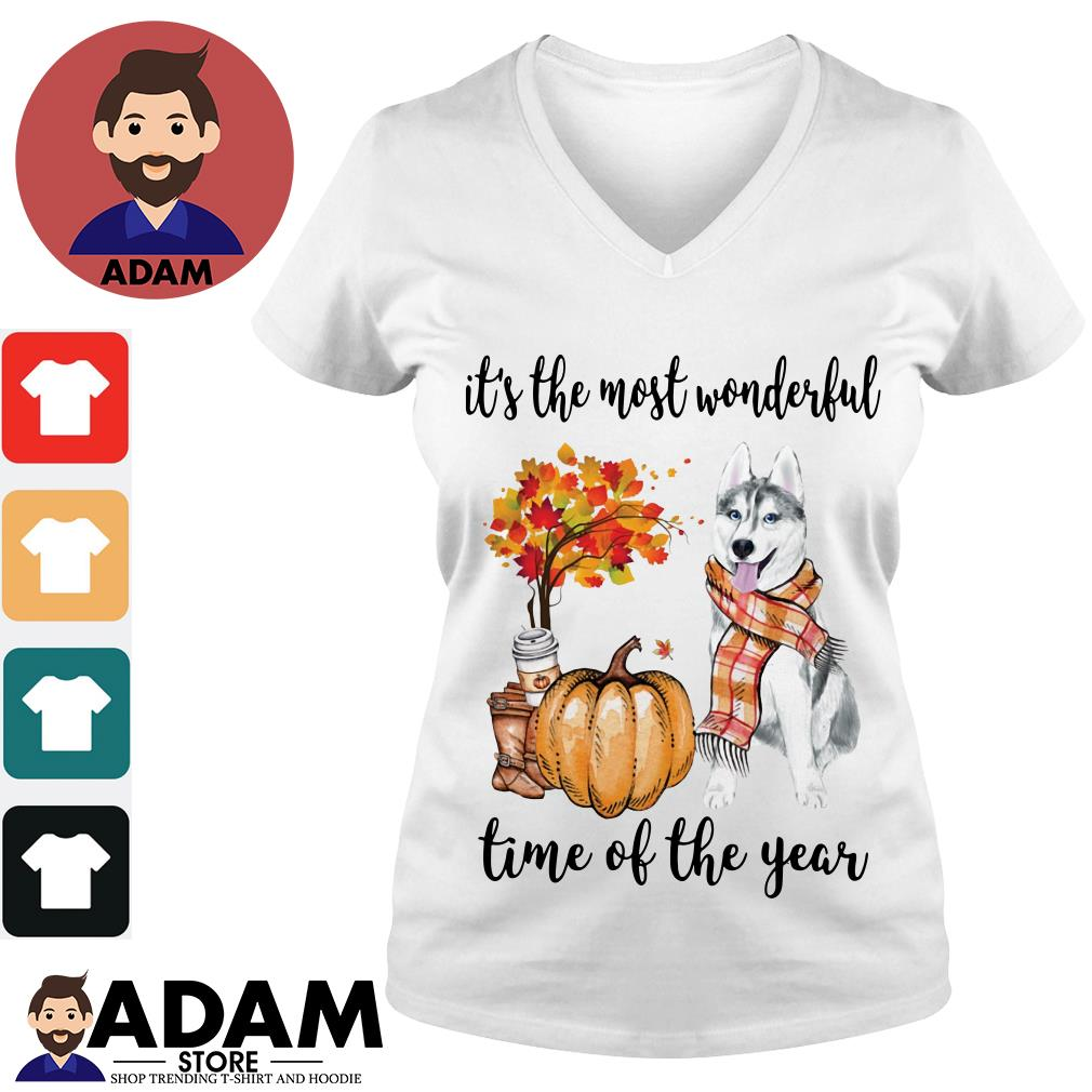 Husky it's the most wonderful time of the year V-neck-T-shirt