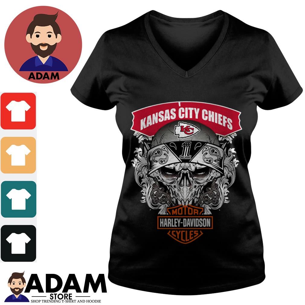 Kansas City Chiefs Harley Davidson motorcycles V-neck-T-shirt