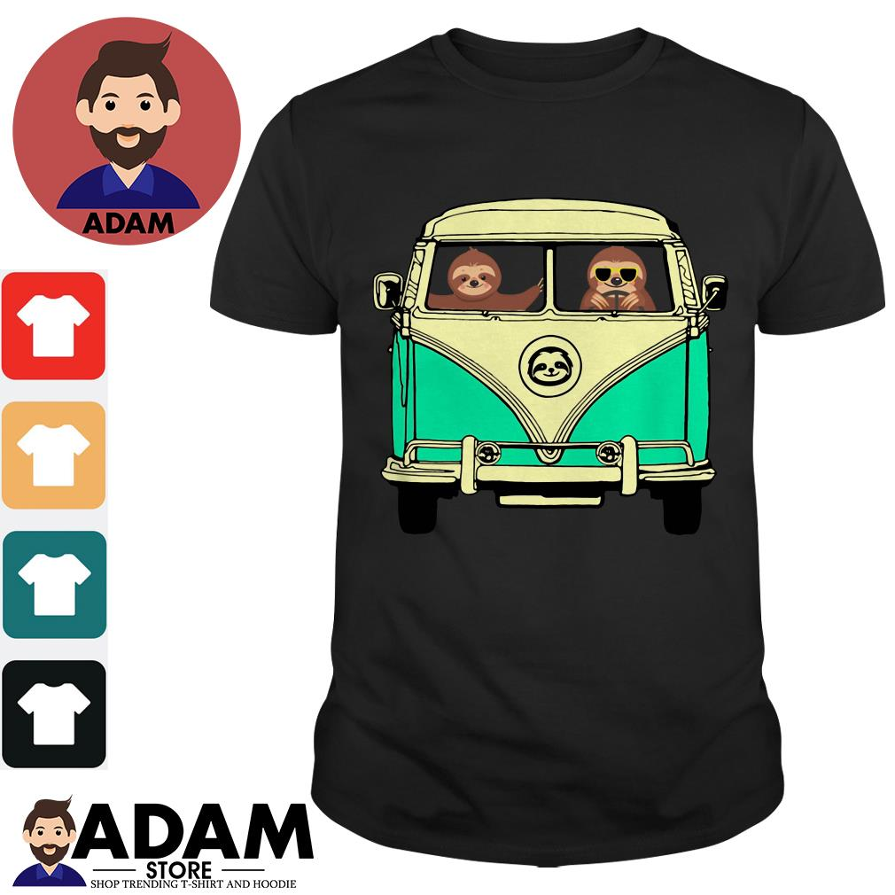 Sloths riding Campervan bus Ladies tee