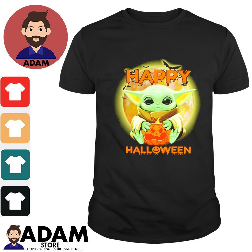 Baby Yoda Happy Halloween Shirt Hoodie Sweater Long Sleeve And Tank Top