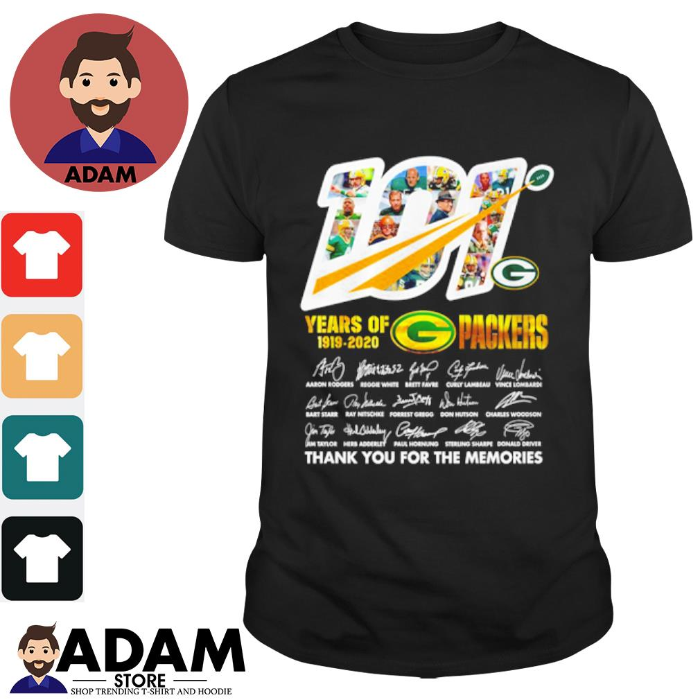 101 Years of 1919 2020 Packers signatures thank you for the memories shirt