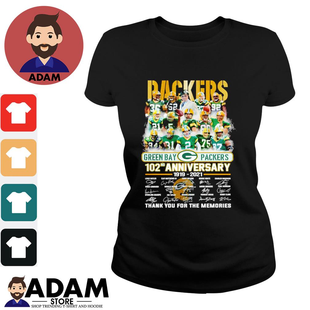 102nd Anniversary 1919-2021 Green Bay Packers thank you for the memories signatures s ladies-tee