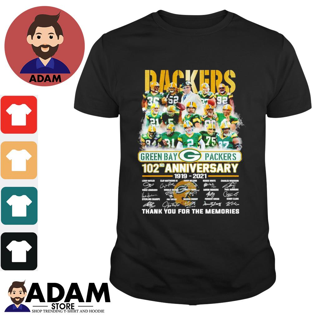 102nd Anniversary 1919-2021 Green Bay Packers thank you for the memories signatures shirt