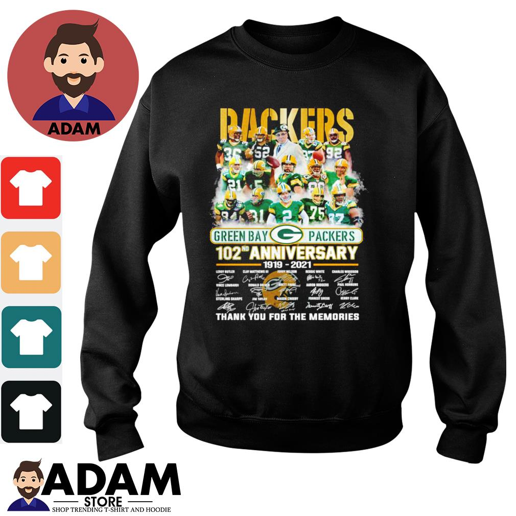 102nd Anniversary 1919-2021 Green Bay Packers thank you for the memories signatures s sweater